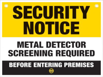 Metal Detector In Use Sign